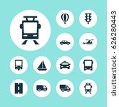 transportation icons set.... | Shutterstock .eps vector #626280443