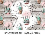 hand drawn abstract textured... | Shutterstock . vector #626287883
