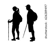 silhouettes of two hikers with... | Shutterstock .eps vector #626289497