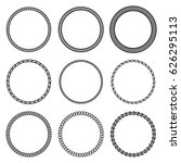 vector set of round rope frame. ... | Shutterstock .eps vector #626295113