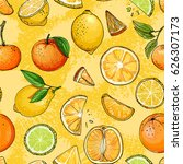 pattern. citrus. set of fruit.... | Shutterstock .eps vector #626307173