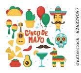 cinco de mayo mexican holiday... | Shutterstock .eps vector #626329097