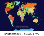 flat world map divided into... | Shutterstock .eps vector #626331797
