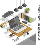 flat isometric 3d workspace... | Shutterstock .eps vector #626343533