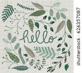 set of embroidery floral... | Shutterstock .eps vector #626357087