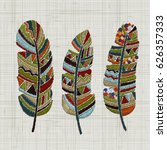 Embroidered Feathers. Colorful...