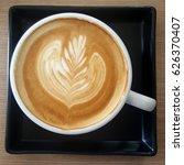 top view of a mug of latte art...   Shutterstock . vector #626370407