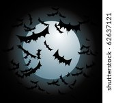 bats flying full moon | Shutterstock .eps vector #62637121
