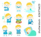 cute blonde hair boy have... | Shutterstock .eps vector #626376623