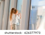 little kids together in airport ... | Shutterstock . vector #626377973
