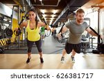 young couple on body training... | Shutterstock . vector #626381717