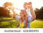happy mother and daughter... | Shutterstock . vector #626383493