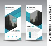 blue hexagon roll up business...   Shutterstock .eps vector #626386157