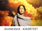 """Small photo of London, England - 17 March, 2017: Photo of Jennifer Lawrence from the movie """"Hunger games"""", taken in Madame Tussaud's, London"""