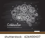 chalk hand drawing with brain... | Shutterstock .eps vector #626400437