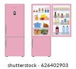 pink fridge with open doors  a...   Shutterstock .eps vector #626402903