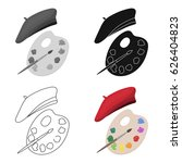 painting palette and beret icon ... | Shutterstock .eps vector #626404823