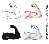biceps icon in cartoon style... | Shutterstock .eps vector #626404907