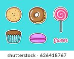 collection of cute stickers... | Shutterstock .eps vector #626418767