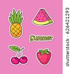 collection of cute stickers... | Shutterstock .eps vector #626421293