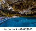 thermal hot spring at cave and... | Shutterstock . vector #626459003