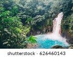 costa rica  blue waterfall in...   Shutterstock . vector #626460143