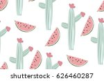 seamless pattern with cactus... | Shutterstock .eps vector #626460287
