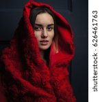 beautiful woman red cloak with... | Shutterstock . vector #626461763