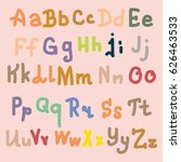 hand drawn alphabet. brush... | Shutterstock . vector #626463533