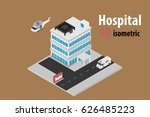 3d isometric hospital with... | Shutterstock .eps vector #626485223