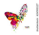 Stock vector butterfly from hearts vector 626503127