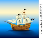 pirate ship with white sails | Shutterstock .eps vector #626507513