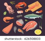 vector seafood illustrations... | Shutterstock .eps vector #626508833