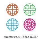 set of modern round chinese...   Shutterstock .eps vector #626516387