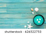 spa composition. candles  sea... | Shutterstock . vector #626522753