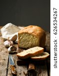 the loaf of garlic bread baked... | Shutterstock . vector #626534267