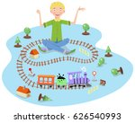 laughing boy playing with model ... | Shutterstock .eps vector #626540993