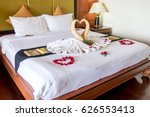 towel as birds decoration with... | Shutterstock . vector #626553413
