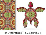 decorative turtle with ornament ... | Shutterstock .eps vector #626554637