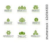 leaves and tree logo set green... | Shutterstock .eps vector #626564303
