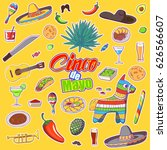set of elements for cinco de... | Shutterstock .eps vector #626566607