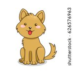 cute cartoon happy dog. vector... | Shutterstock .eps vector #626576963