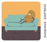 concept couch potato  vector   Shutterstock .eps vector #626578223