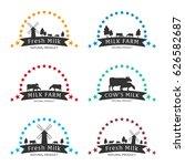 milk emblem  labels  logo and... | Shutterstock .eps vector #626582687