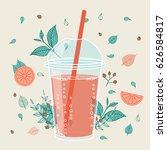 smoothie design in hand drawn...   Shutterstock .eps vector #626584817