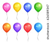 colored realistic helium... | Shutterstock .eps vector #626589347