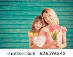 Woman And Child With Bouquet O...