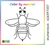 bee   painting page  color by... | Shutterstock .eps vector #626597357