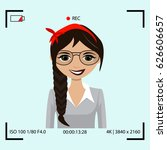 video recording process with...   Shutterstock .eps vector #626606657