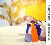 summer hat and blue stripe bag...   Shutterstock . vector #626606843